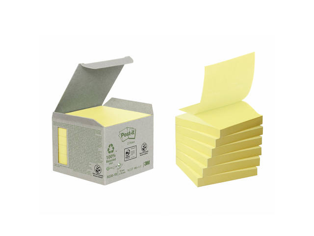 MEMOBLOK 3M POST-IT Z-NOTE R330 RECYCLE GEEL