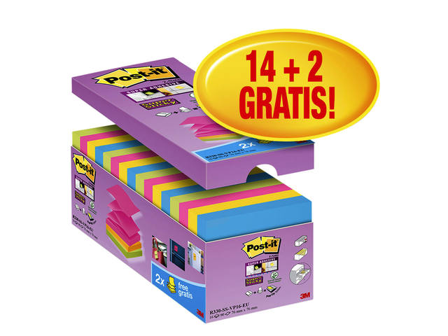 MEMOBLOK 3M POST-IT S330-16 76X76MM PROMO ASS