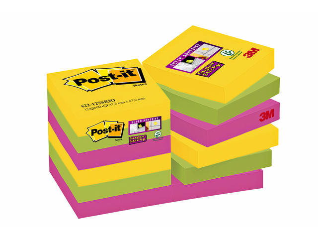 MEMOBLOK 3M POST-IT 622 SUPER STICKY 47.6X47.6 RIO