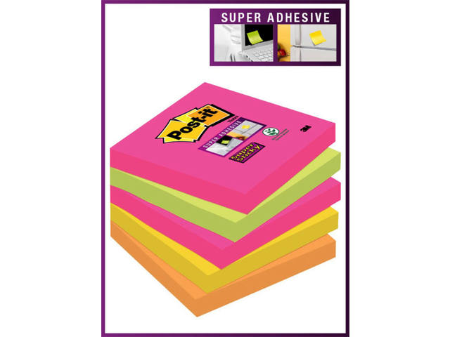 MEMOBLOK 3M POST-IT 654SN 76X76MM STICKY NEON RB