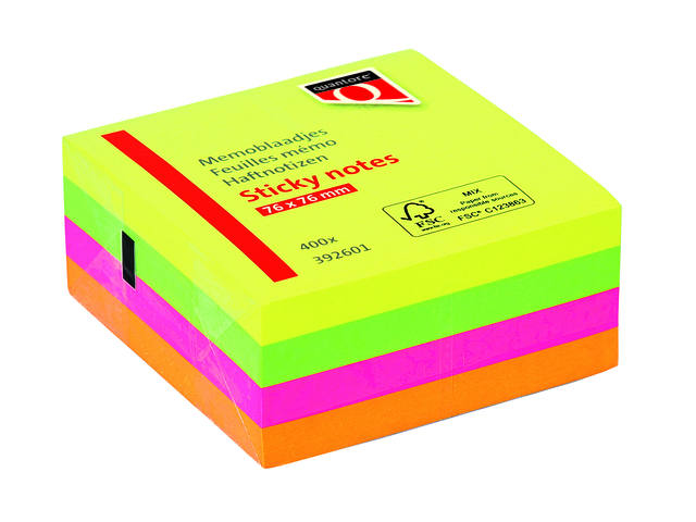 MEMOBLOK QUANTORE 75X75MM STICKY NEON ASS