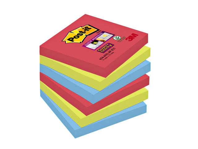 MEMOBLOK 3M POST-IT 654-SSJP 76X76MM SS RD/GN/BL