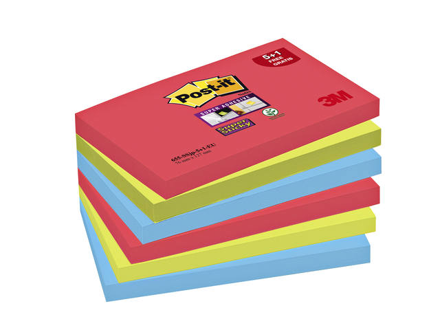 MEMOBLOK 3M POST-IT 655-SSEG 76X127MM SS OR/RZ/BL