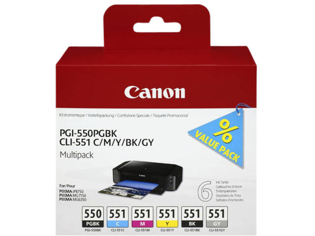 INKCARTRIDGE CANON PGI-550 CLI-551 ZWART 5 KLEUREN 1