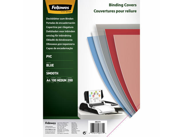 VOORBLAD FELLOWES A4 PVC 200MICRON TRANSPARANT BLAUW