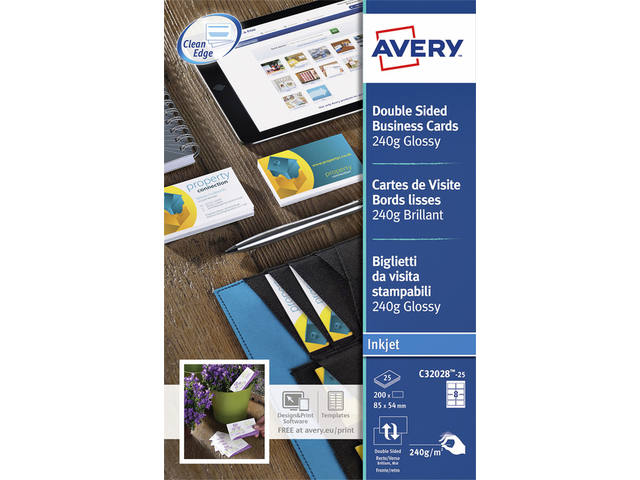 VISITEKAART AVERY C32028-25 85X54MM 200ST GLANS