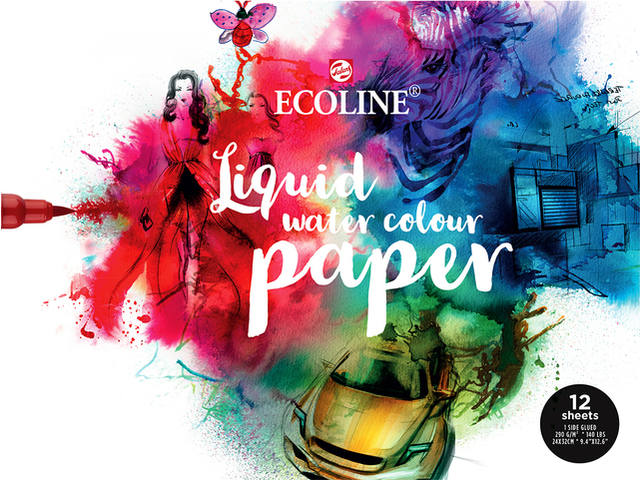 ECOLINE LIQUID WATERCOLOURBLOK 24x32CM 290GR 1-ZIJD. (12VEL)