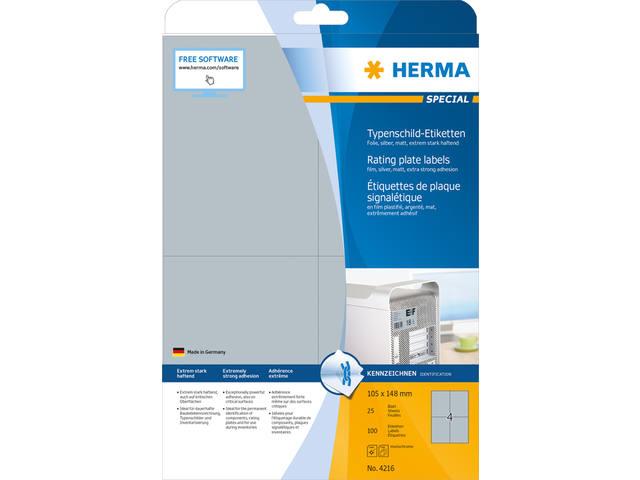 ETIKET HERMA 4216 105X148MM ZILVER 100ST