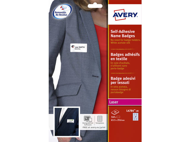 NAAMBADGE ETIKET AVERY L4784-20 63.5X29.6MM 540ST ZK