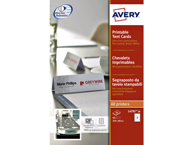 TENTKAART AVERY L4795-20 180X60MM WIT 40ST
