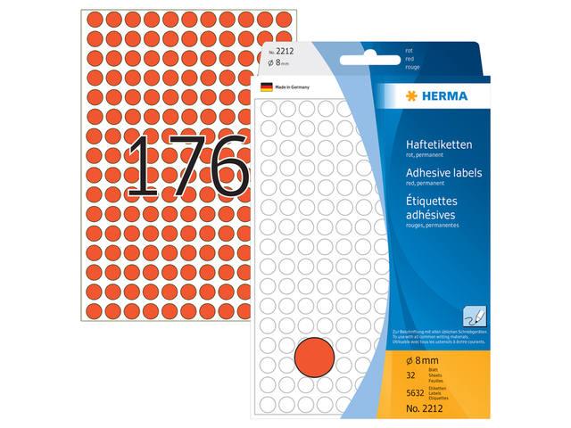 ETIKET HERMA 2212 ROND 8MM 5632ST ROOD 1