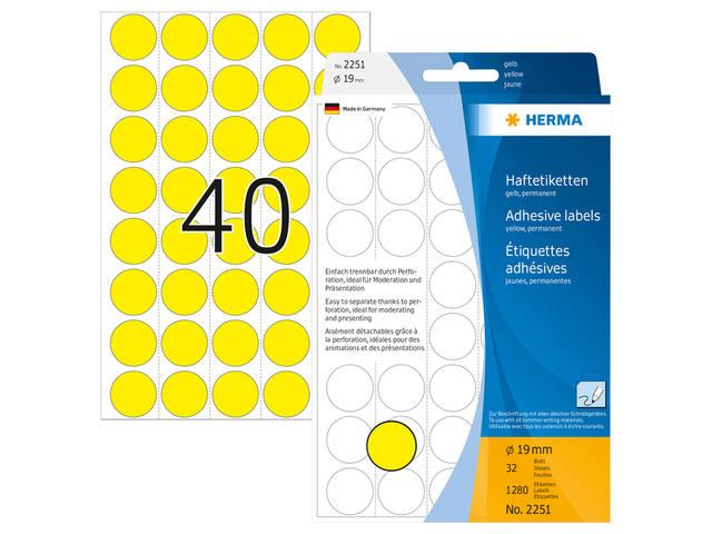 ETIKET HERMA 2251 ROND 19MM GEEL 1280ST 3