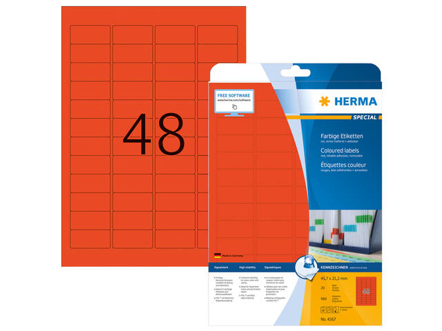 ETIKET HERMA 4367 45.7X21.2MM A4 960ST ROOD