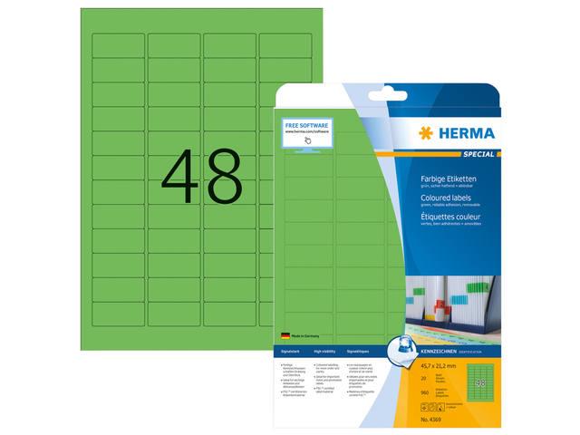 ETIKET HERMA 4369 45.7X21.2MM A4 960ST GROEN
