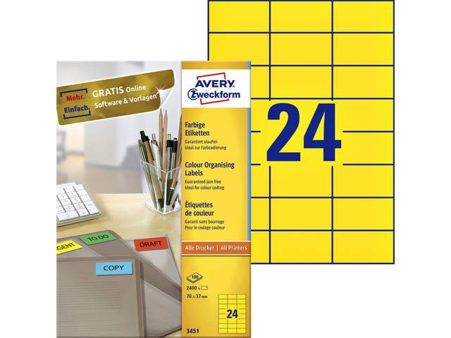 ETIKET AVERY ZWECK 3451 70X37MM GEEL 2400ST