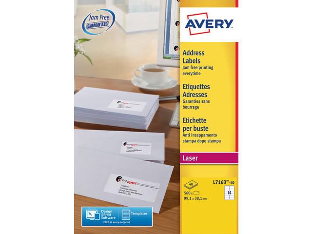 ETIKET AVERY L7163-40 99.1X38.1MM 560ST