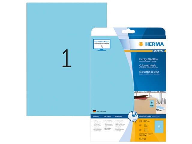 ETIKET HERMA 4423 A4 BLAUW 20ST