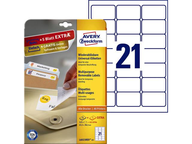 ETIKET AVERY ZWECK L6023REV-25 63.5X38.1MM 525ST
