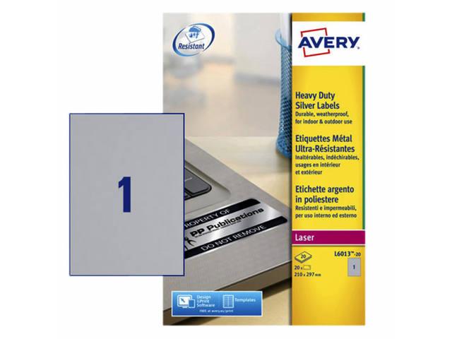 ETIKET AVERY L6013-20 210X297MM 20ST ZILVER