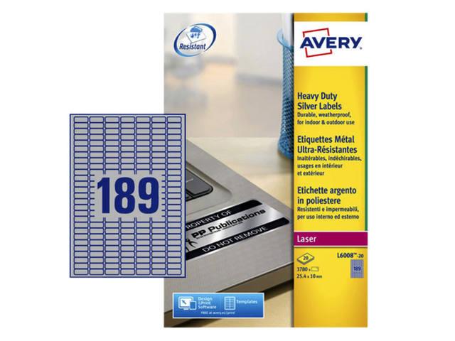 ETIKET AVERY L6008-20 25.4X10MM 3780ST ZILVER