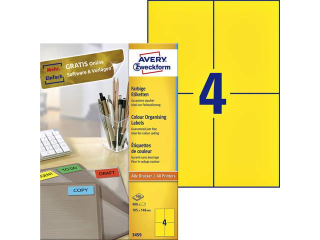 ETIKET AVERY ZWECK 3459 105X148MM 400ST GEEL
