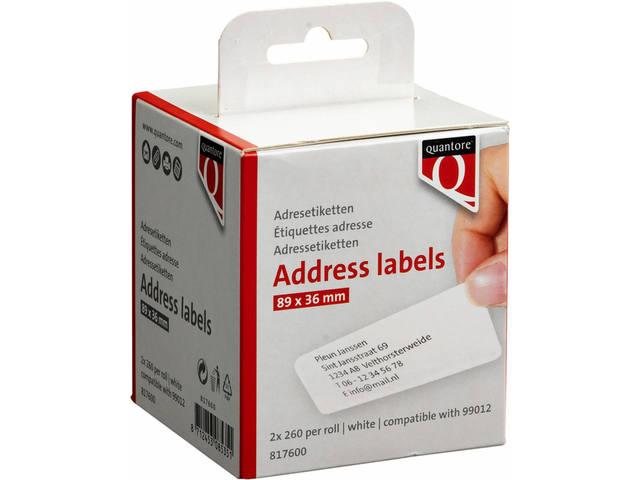 LABEL ETIKET QUANTORE 99012 89MMX36MM ADRES WIT
