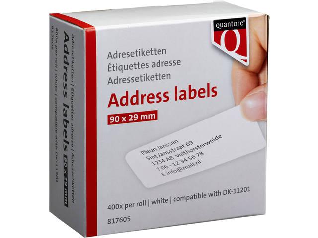 LABEL ETIKET QUANTORE DK-11201 29MMX90MM ADRES WIT