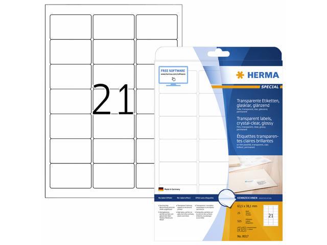 ETIKET HERMA 8017 63.5X38.1MM TRANSPARANT A4 525ST