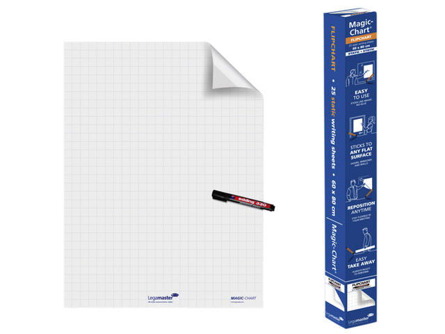 MAGIC-CHART LEGAMASTER WHITEBOARD 60X80CM RUIT