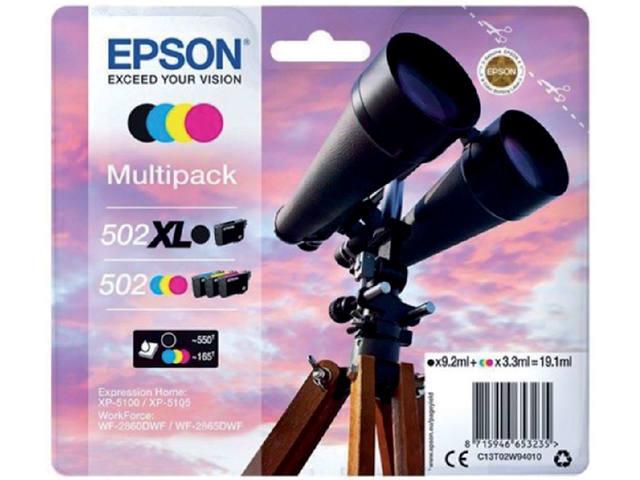 INKCARTRIDGE EPSON 502XL 502 T02W9 ZWART + 3 KLEUREN 1