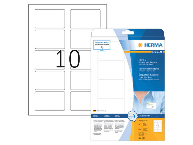 NAAMBADGE ETIKET HERMA 4514 80X50MM WIT