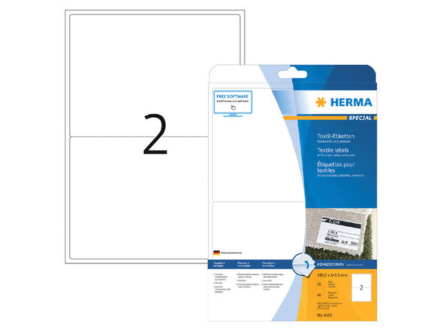 NAAMBADGE ETIKET HERMA 4519 199.6X143.5MM WIT