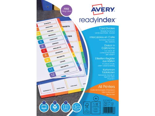 TABBLADEN AVERY READYINDEX A4 4R 12DLG