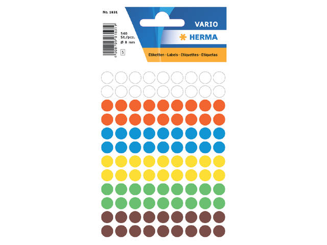 ETIKET HERMA 1831 ROND 8MM 540ST ASS