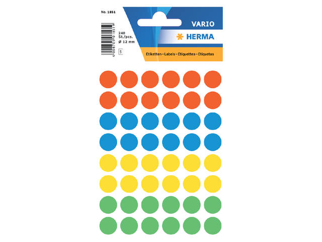 ETIKET HERMA 1851 ROND 12MM 240ST ASS