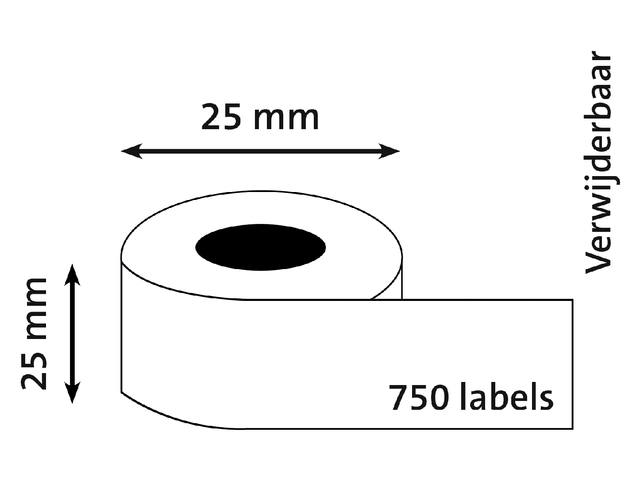 LABEL ETIKET DYMO 11253 25MMX25MM WIT