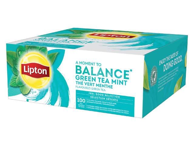 THEE LIPTON BALANCE GREEN TEA MINT 1.5GR MET ENVELOP