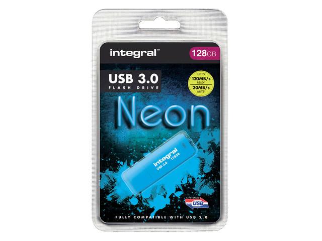 USB-STICK INTEGRAL 128GB 3.0 NEON BLAUW