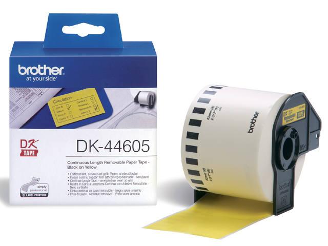 LABEL ETIKET BROTHER DK-44605 62MMX30.48M GEEL 1