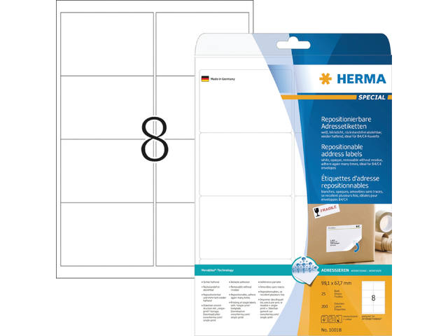 ETIKET HERMA MOVABLE 10018 99.1X67.7MM 200ST