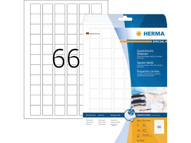 ETIKET HERMA INKPRINT 8831 25.4X25.4MM 1650ST 1