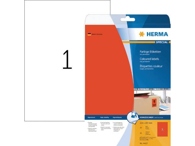 ETIKET HERMA 4422 A4 ROOD 20ST