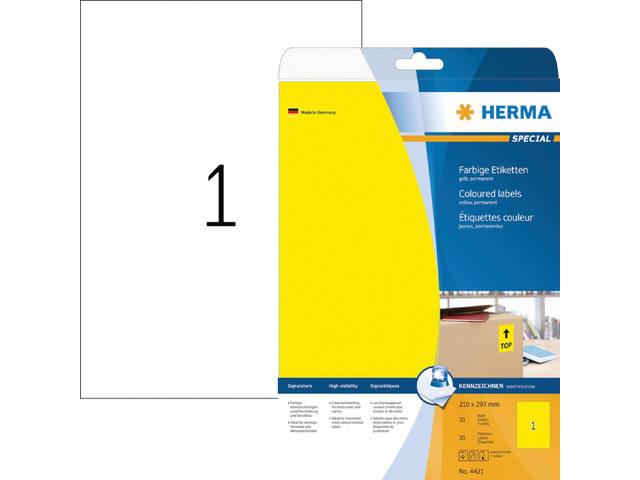 ETIKET HERMA 4421 A4 GEEL 20ST