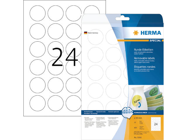 ETIKET HERMA 5066 SPECIAL ROND 40MM MOVABLE 600ST