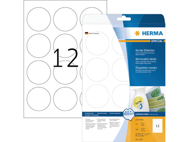ETIKET HERMA 5067 SPECIAL ROND 60MM 300ST