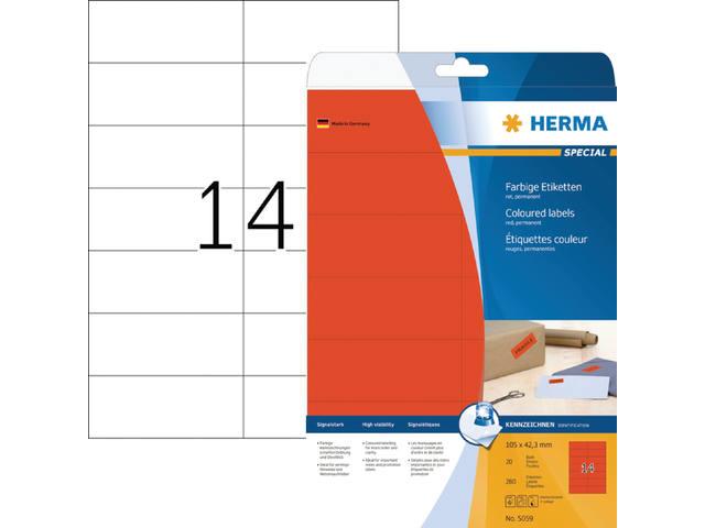 ETIKET HERMA 5059 105X42.3MM 280ST ROOD