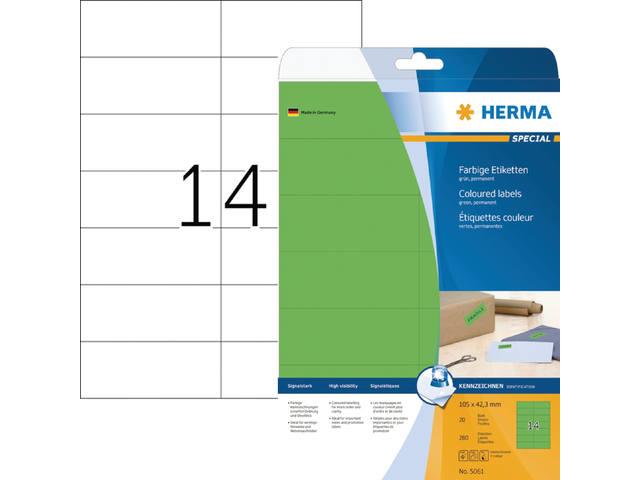 ETIKET HERMA 5061 105X42.3MM 280ST GROEN