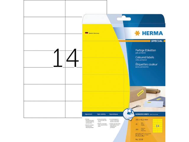 ETIKET HERMA 5058 105X42.3MM 280ST GEEL 1