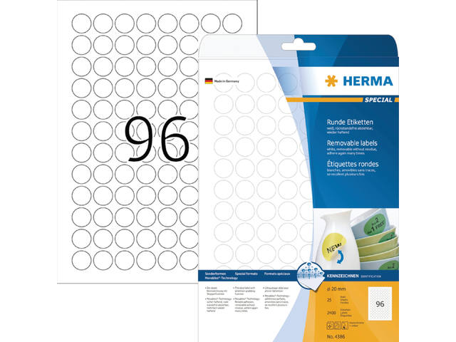ETIKET HERMA 4386 ROND 20MM 2400ST