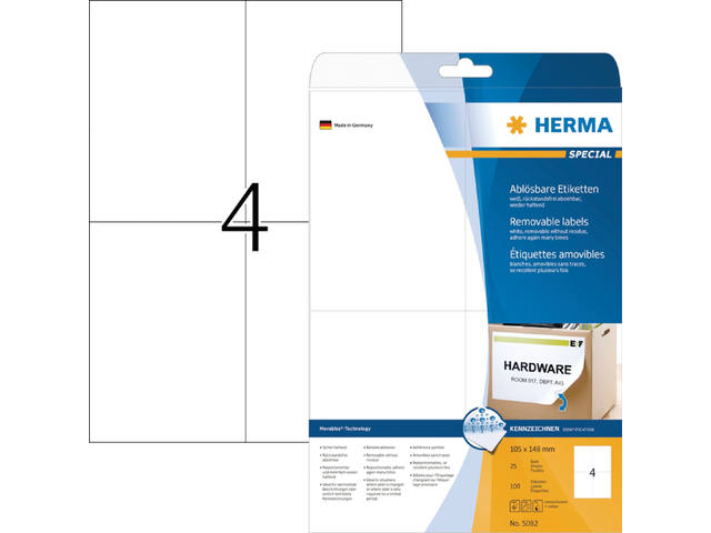 ETIKET HERMA 5082 MOVABLE 105X148MM A4 100ST WIT